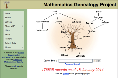 mathematics genealogy project